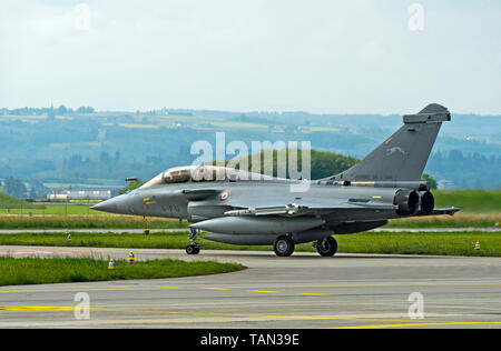 French Air Force Dassault Rafale B 4-FU SPA 81 fighter aircraft, presentation on the Payerne military airfield, Payerne, Vaud, Switzerland - Stock Image