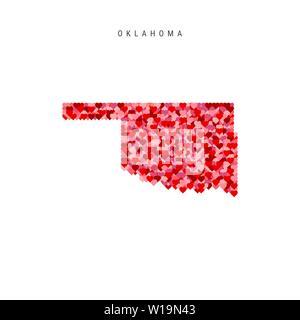 I Love Oklahoma. Red Hearts Pattern Vector Map of Oklahoma - Stock Image