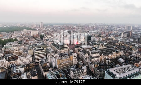 London Central Town City Aerial View around China Town, Leicester Square, Soho, Piccadilly Circus Skyline Cityscape in England United Kingdom UK - Stock Image