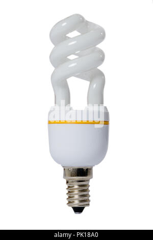 Fluorescent lamp with opaque glass bulb and E27 connection. White background. - Stock Image