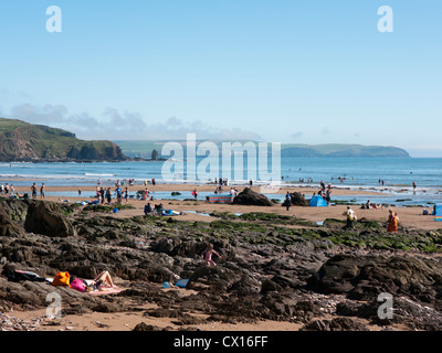 Bantham beach looking towards Thurlstone and start point on the South Devon coast - Stock Image