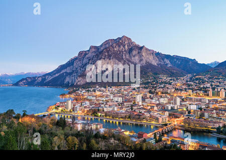 Elevated view of Lecco city with its 3 bridges. Lecco, Como lake, Lombardy, Italy, Europe - Stock Image