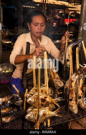Cambodia, Phnom Penh, Oudong, food market, woman barbecuing river fish held in bamboo for sale to eat - Stock Image
