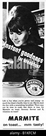 1965 Magazine Advertisement for Marmite on Toast FOR EDITORIAL USE ONLY - Stock Image