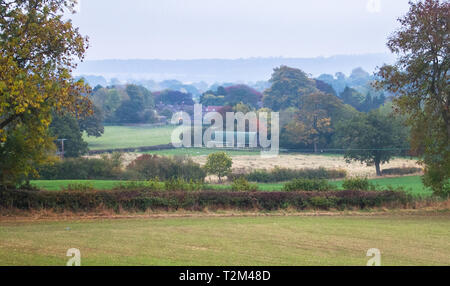 An idyllic scene of country houses and agricultural land for sheep grazing obscured by gentle fog in rural Shropshire, England. - Stock Image