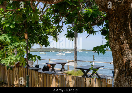 Café with a terrace overlooking the sea on the foreshore, Cooktown, Far North Queensland, QLD, FNQ, Australia - Stock Image