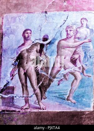 Mural Depicting Battle Between Hercules and Acheloo Herculaneum Italy - Stock Image
