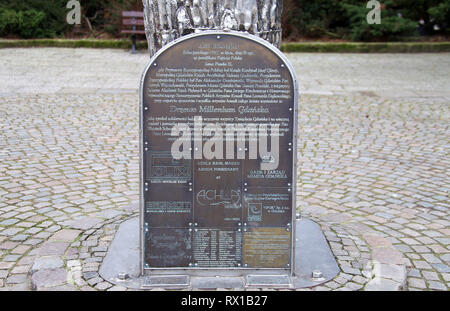 Plaque at the stainless steel Millenium Tree which commemorates1000 years since the founding of the Polish city of Gdansk - Stock Image
