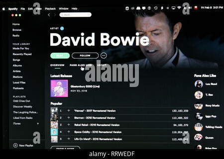 David Bowie Spotify artist home page - Stock Image