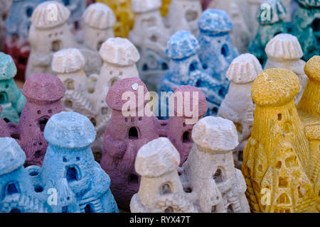 Souvenir of Cappadocia, grouping of colourful reproduction of the castle of Uchisar for offering to tourist. - Stock Image
