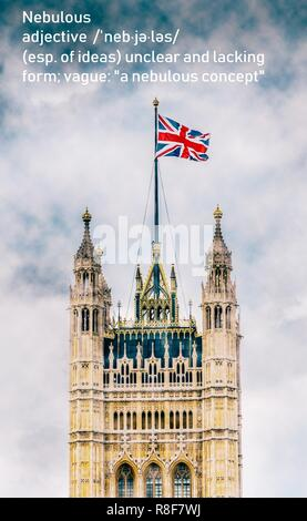 London, UK - Dec 14, 2018: Nebulous Victoria Tower, Palace of Westminster, United Kingdom during Brexit negotiations in December 2018 - Stock Image