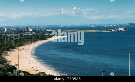Santos Dumont Airport, Ponte Rio-Niteroi, Financial District and Guanabara Bay all visible - Stock Image