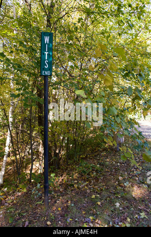 Wit's End Street Sign in Weston, Massachusetts - Stock Image