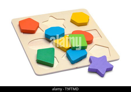 Kids Wood Block Shape Puzzle Isolated on White Background. - Stock Image