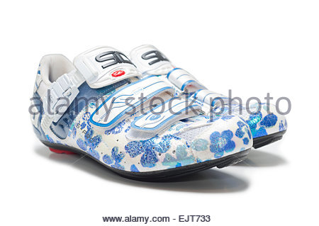 Women's Road Bike Shoes Sidi Genius Pro 5 White Background Flower Patterns  Made in Italy. Womens professional - Stock Image