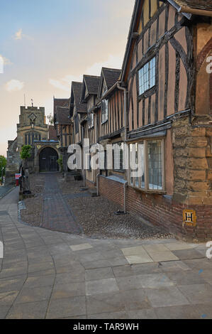 Lord Leycester Hospital and Westgate in Warwick, Warwickshire - Stock Image