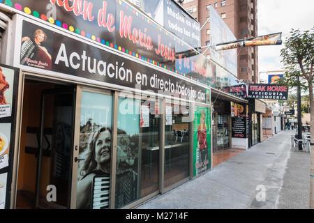 Benidorm New Town, Costa Blanca, Spain. Pedestrianised food street maria jesus bar restaurant - Stock Image