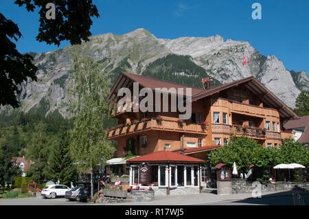 Alpine resort hotel in Kandersteg, Bernese Oberland, Switzerland - Stock Image