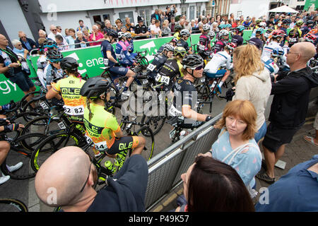 Riders and spectators at the start of the 2018 Ovo Women's Tour - Stock Image