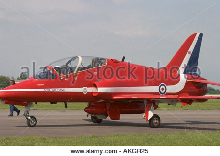Rivolto Italia Air show 2005 RAF aerobatic team BAe Hawk Red Arrows two seater - Stock Image