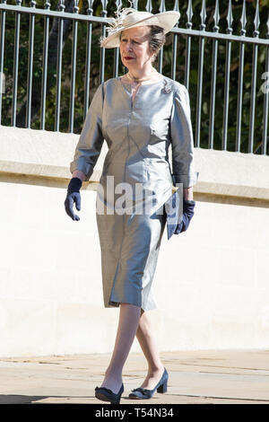 Windsor, UK. 21st April 2019. Princess Anne, Princess Royal, arrives to attend the Easter Sunday Mattins service at St George's Chapel in Windsor Castle. Credit: Mark Kerrison/Alamy Live News - Stock Image