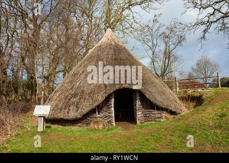 Bronze Age Roundhouse Replica at Michelham Priory. - Stock Image