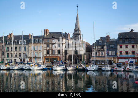 The spire of the the Musee de la Marine viewed across the old harbour from St. Catherine's Quay. - Stock Image