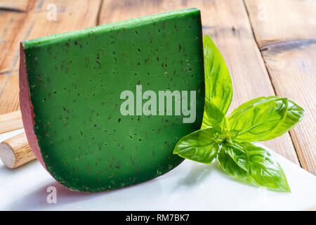 Cheese collection, piece of Dutch green pesto hard cheese with fresh basil close up - Stock Image