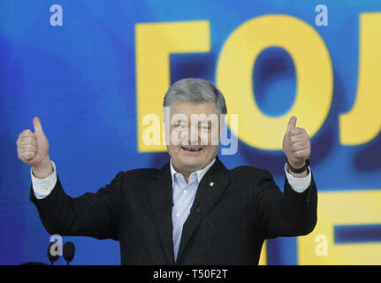 Kiev, Kiev, Ukraine. 19th Apr, 2019. Ukrainian president and presidential candidate Petro Poroshenko is seen during the presidential candidates debates at the Olimpiyskiy stadium in Kiev, Ukraine. The second round of presidential elections will be held on April 21, 2019. Credit: Pavlo Gonchar/SOPA Images/ZUMA Wire/Alamy Live News - Stock Image