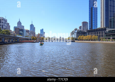 Melbourne, Australia - 20th March 2013: View down the Yarra River on a hot sunny day. The river is 242 kilometres long. - Stock Image