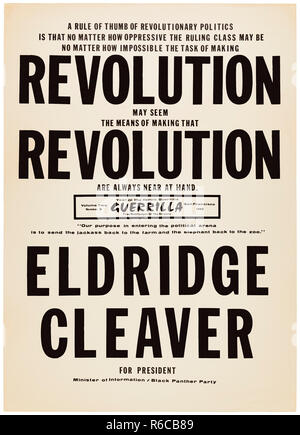 'Revolution Revolution Eldridge Cleaver for President' 1968 presidential campaign poster as candidate for the Black Panther Party. See more information below. - Stock Image