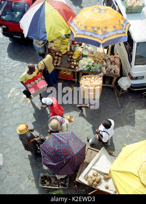 A bird's eye view of an open air market. Kingstown, St. Vincent. West Indies. - Stock Image