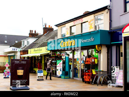 14 December 2018 A small  Centra supermarket in Newcastle County Down Northern Ireland on a dull midwinter day leading up to Christmas - Stock Image