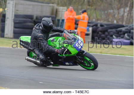 East Fortune, UK. 14 April, 2019. 50 Rab Clark riding a Kawasaki  ZXR400 in a Scottish Lightweights race at East Fortune Raceway, during the opening rounds of the 2019 Scottish Championships, Melville Open and Club Championships. Credit: Roger Gaisford/Alamy Live News - Stock Image