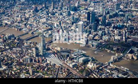Aerial view of central London from the SE including the Thames, Shard, City Hall, Tower Bridge and the City of London. - Stock Image