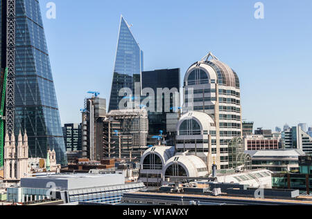 City of London EC3 insurance and financial district skyline: 20 Gracechurch Street, Willis Building, Scalpel, Lloyds' Building, Cheesegrater - Stock Image