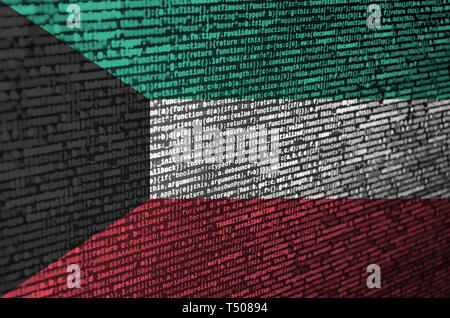 Kuwait flag  is depicted on the screen with the program code. The concept of modern technology and site development. - Stock Image