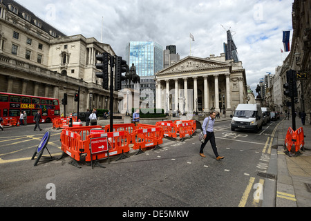 London street on a typical day in the City of London - Stock Image