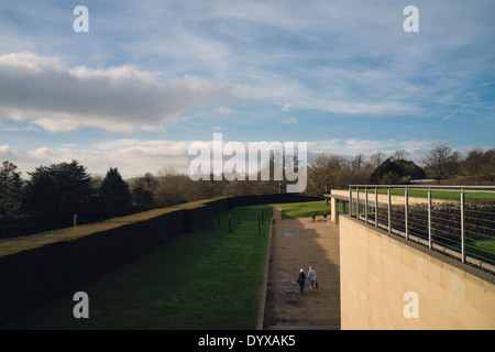 Yorkshire Sculpture Park's Underground Gallery and Emley Moor mast in the distance. - Stock Image