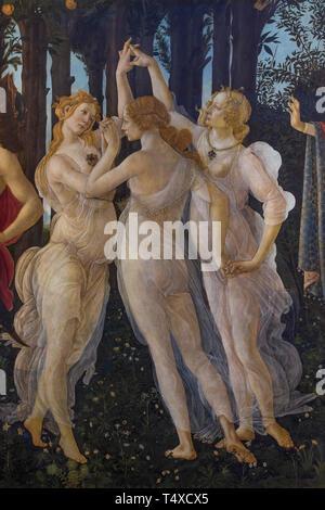 The Three Graces, Primavera, Spring, detail, Sandro Botticelli, circa 1482, Galleria degli Uffizi, Uffizi Gallery, Florence, Tuscany, Italy - Stock Image