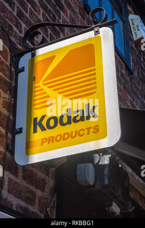 Metal Kodak sign outside a camera shop, Beverley, East Riding, Yorkshire, England - Stock Image