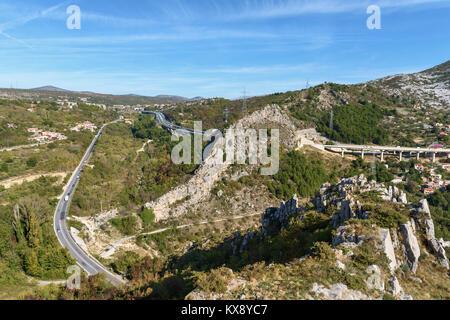 Tunel Mihovilovići from Klis fortress, Croatia - Stock Image