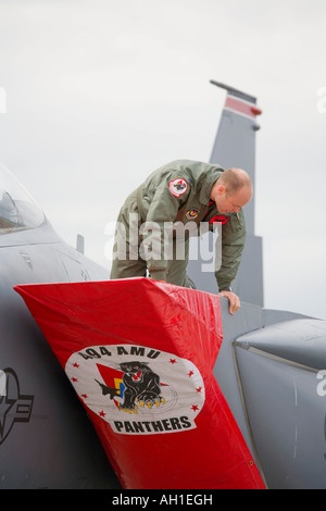 Covering jet intakes with protective canvas, USAAF McDonnell F15 Eagle during airshow in Brno 2007 - Stock Image
