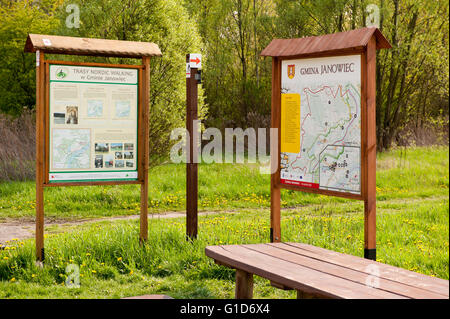 Janowiec map and nordic walking routes two boards on the roadside next to the ferry ship do Kazimierz Dolny in Lubelskie. - Stock Image