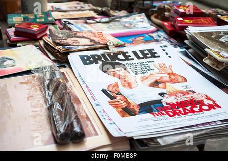 Bruce Lee posters on sale at Upper Lascar Row street market, Sheung Wan, Hong Kong - Stock Image
