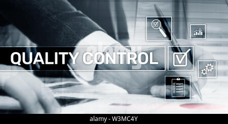 Quality ontrol. Corporate Technology concept. Quality assurance. Creative business background. - Stock Image