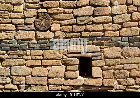 Blue stone wall decoration, Aztec Ruins National Monument, New Mexico, USA 180927_74481 - Stock Image