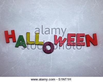 Halloween (word) - Stock Image