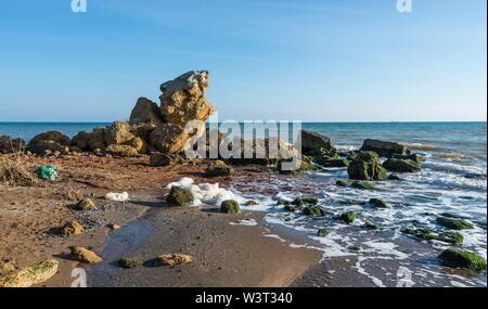 Large stones by the sea near the village of Fontanka, Odessa region, Ukraine - Stock Image