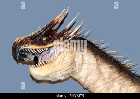 Close-up of the Head of a Hungarian Horntail, The Making of Harry Potter Tour,  Warner Brothers Studio, Leavesdon. - Stock Image